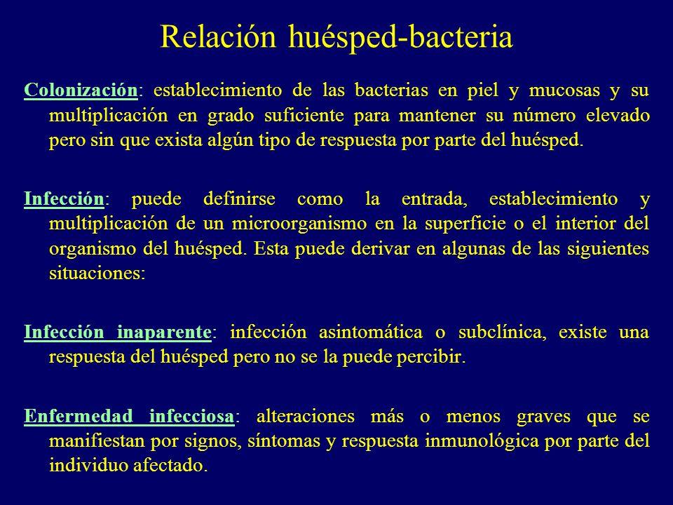 Relación huésped-bacteria Colonización: establecimiento de las bacterias en piel y mucosas y su multiplicación en grado suficiente para mantener su nú