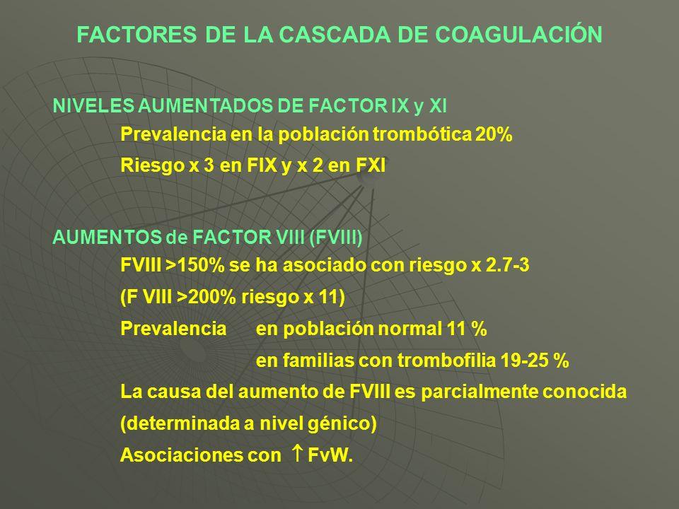 NIVELES AUMENTADOS DE FACTOR IX y XI Prevalencia en la población trombótica 20% Riesgo x 3 en FIX y x 2 en FXI AUMENTOS de FACTOR VIII (FVIII) FVIII >