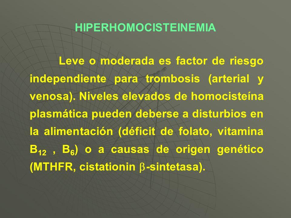 Leve o moderada es factor de riesgo independiente para trombosis (arterial y venosa). Niveles elevados de homocisteína plasmática pueden deberse a dis