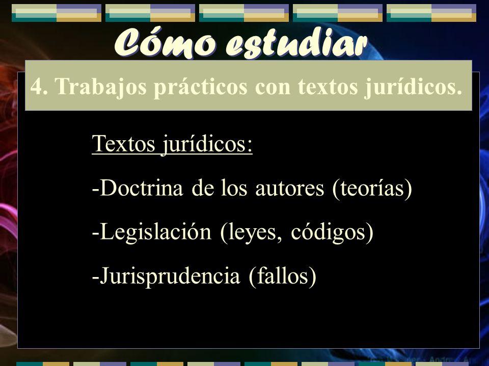 Cómo estudiar 4. Trabajos prácticos con textos jurídicos. Textos jurídicos: -Doctrina de los autores (teorías) -Legislación (leyes, códigos) -Jurispru