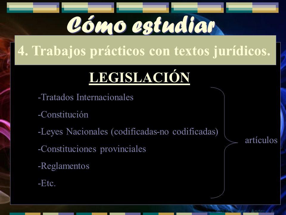 Cómo estudiar 4. Trabajos prácticos con textos jurídicos. LEGISLACIÓN -Tratados Internacionales -Constitución -Leyes Nacionales (codificadas-no codifi