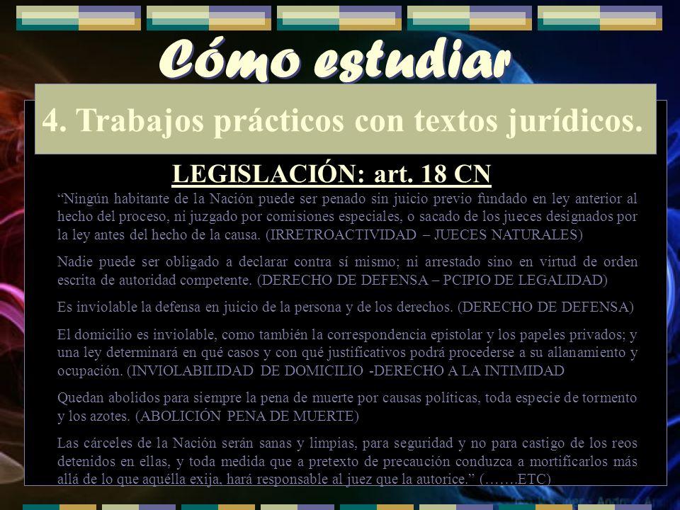 Cómo estudiar 4. Trabajos prácticos con textos jurídicos. LEGISLACIÓN: art. 18 CN Ningún habitante de la Nación puede ser penado sin juicio previo fun
