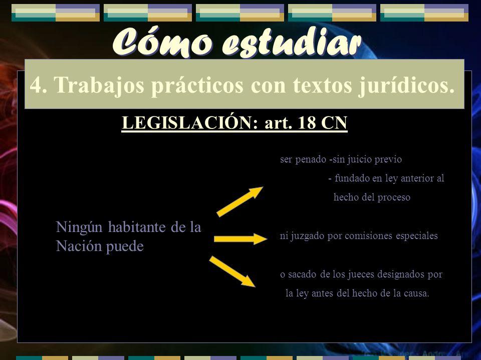 Cómo estudiar 4. Trabajos prácticos con textos jurídicos. LEGISLACIÓN: art. 18 CN ser penado -sin juicio previo - fundado en ley anterior al hecho del