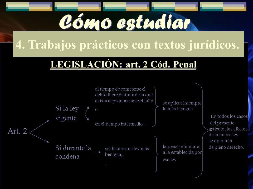 Cómo estudiar 4. Trabajos prácticos con textos jurídicos. LEGISLACIÓN: art. 2 Cód. Penal En todos los casos del presente artículo, los efectos de la n