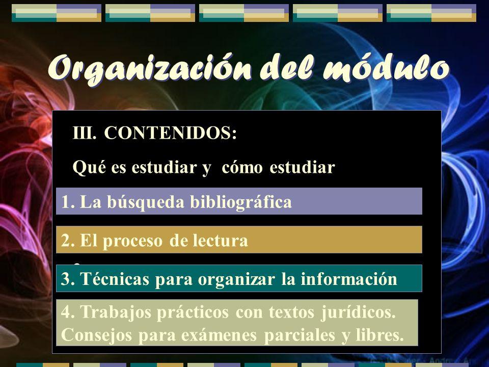 Organización del módulo III. CONTENIDOS: Qué es estudiar y cómo estudiar 1. Búsqueda bibliográfica 2. El proceso de lectura 3. 1. La búsqueda bibliogr