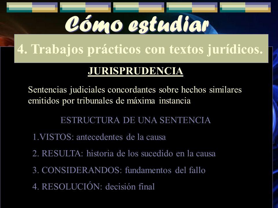 Cómo estudiar 4. Trabajos prácticos con textos jurídicos. JURISPRUDENCIA Sentencias judiciales concordantes sobre hechos similares emitidos por tribun