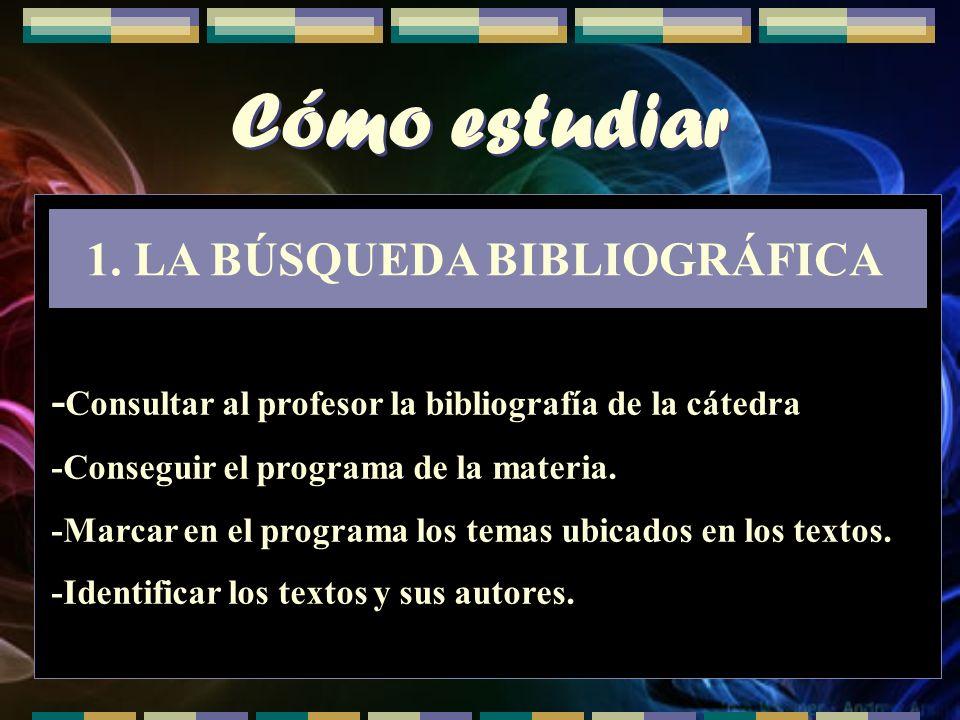 Cómo estudiar 1.LA BÚSQUEDA BIBLIOGRÁFICA - Consultar al profesor la bibliografía de la cátedra -Conseguir el programa de la materia. -Marcar en el pr