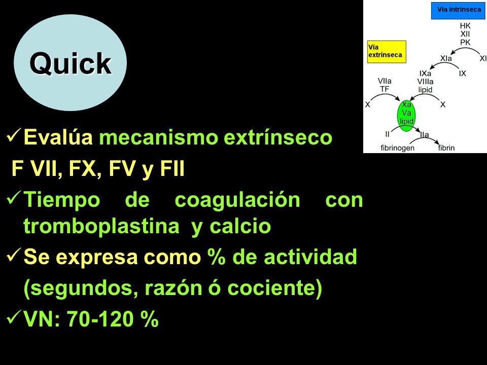 Quick Evalúa mecanismo extrínseco F VII, FX, FV y FII Tiempo de coagulación con tromboplastina y calcio Se expresa como % de actividad (segundos, razó