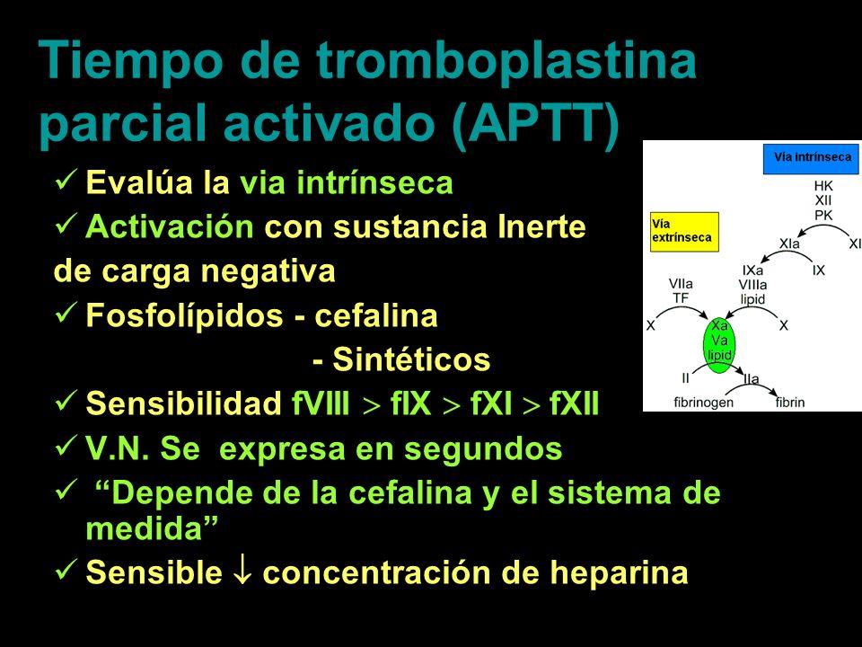 Tiempo de tromboplastina parcial activado (APTT) Evalúa la via intrínseca Activación con sustancia Inerte de carga negativa Fosfolípidos - cefalina -