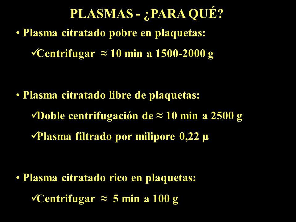 Plasma citratado pobre en plaquetas: Centrifugar 10 min a 1500-2000 g Plasma citratado libre de plaquetas: Doble centrifugación de 10 min a 2500 g Pla