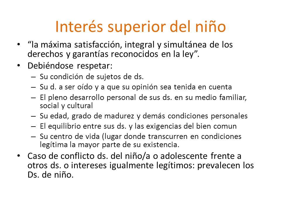 Interés superior del niño la máxima satisfacción, integral y simultánea de los derechos y garantías reconocidos en la ley.