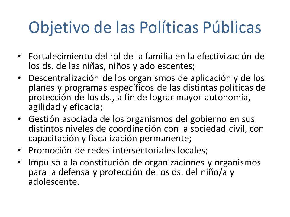 Objetivo de las Políticas Públicas Fortalecimiento del rol de la familia en la efectivización de los ds. de las niñas, niños y adolescentes; Descentra