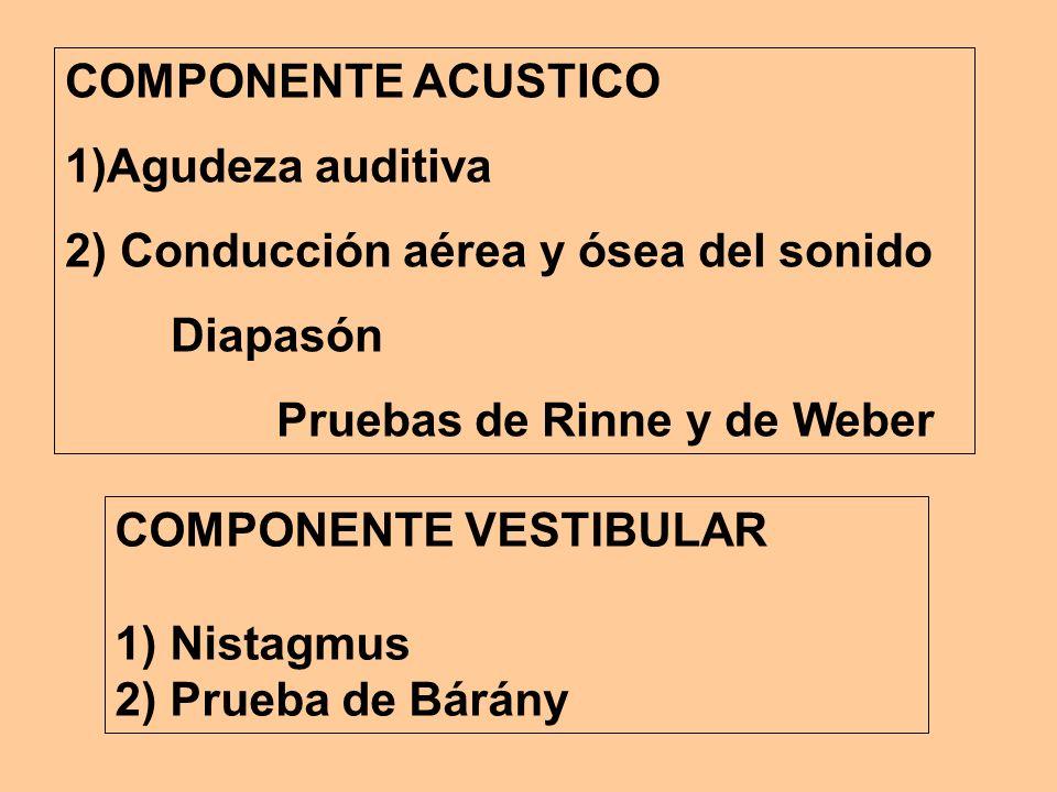 COMPONENTE ACUSTICO 1)Agudeza auditiva 2) Conducción aérea y ósea del sonido Diapasón Pruebas de Rinne y de Weber COMPONENTE VESTIBULAR 1) Nistagmus 2