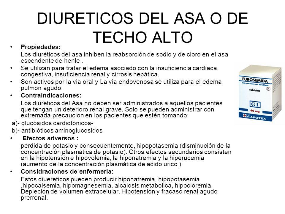 DIURETICOS DEL ASA O DE TECHO ALTO Propiedades: Los diuréticos del asa inhiben la reabsorción de sodio y de cloro en el asa escendente de henle. Se ut