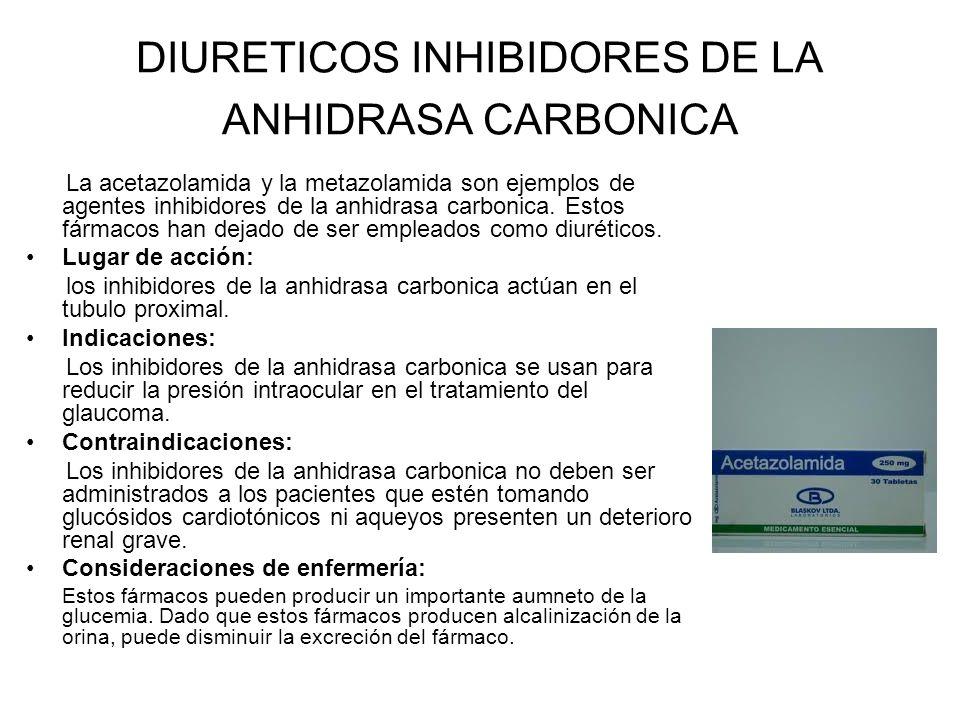 DIURETICOS INHIBIDORES DE LA ANHIDRASA CARBONICA La acetazolamida y la metazolamida son ejemplos de agentes inhibidores de la anhidrasa carbonica. Est
