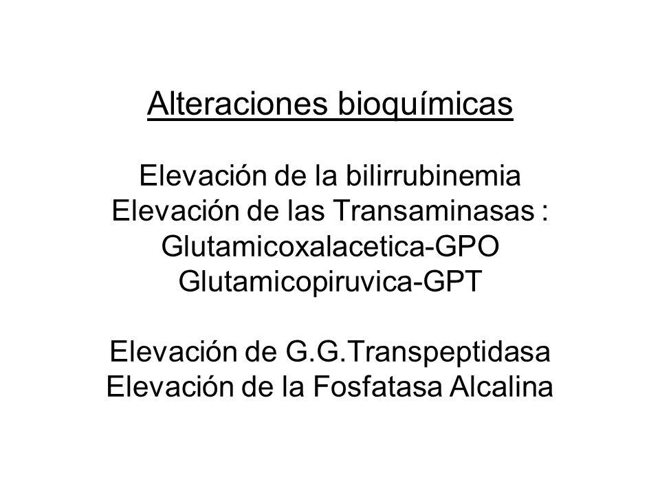 Alteraciones bioquímicas Elevación de la bilirrubinemia Elevación de las Transaminasas : Glutamicoxalacetica-GPO Glutamicopiruvica-GPT Elevación de G.