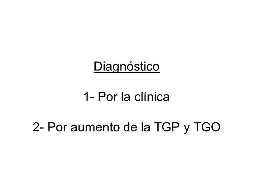 Diagnóstico 1- Por la clínica 2- Por aumento de la TGP y TGO