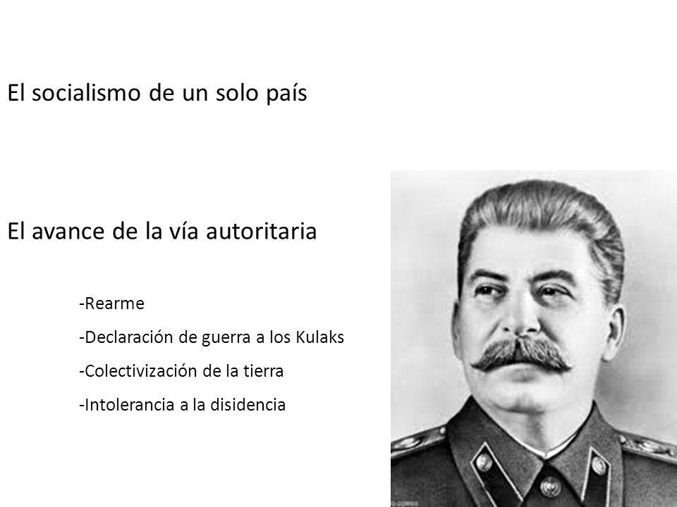 El socialismo de un solo país El avance de la vía autoritaria -Rearme -Declaración de guerra a los Kulaks -Colectivización de la tierra -Intolerancia