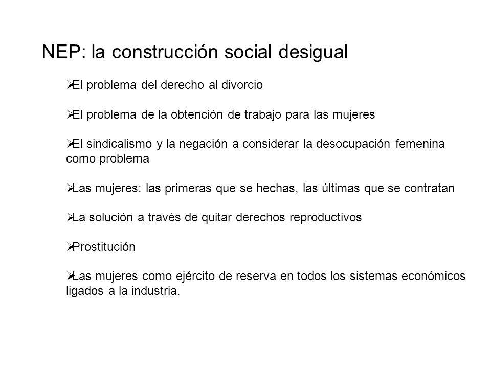NEP: la construcción social desigual El problema del derecho al divorcio El problema de la obtención de trabajo para las mujeres El sindicalismo y la