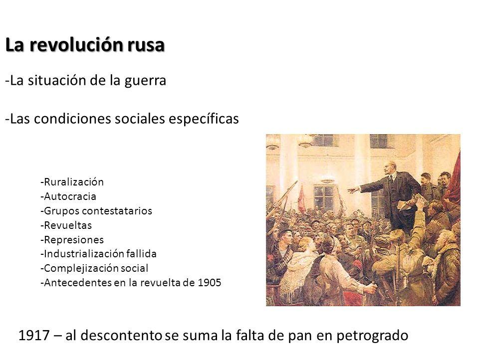 La revolución rusa -La situación de la guerra -Las condiciones sociales específicas -Ruralización -Autocracia -Grupos contestatarios -Revueltas -Repre