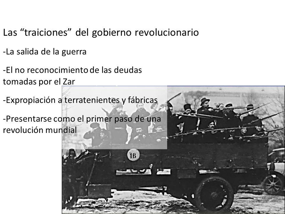 Las traiciones del gobierno revolucionario -La salida de la guerra -El no reconocimiento de las deudas tomadas por el Zar -Expropiación a terratenient