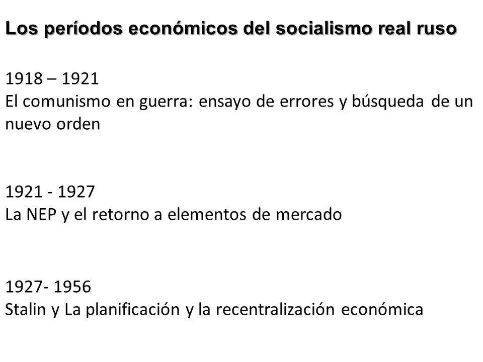 1918 – 1921 El comunismo en guerra: ensayo de errores y búsqueda de un nuevo orden 1921 - 1927 La NEP y el retorno a elementos de mercado 1927- 1956 S