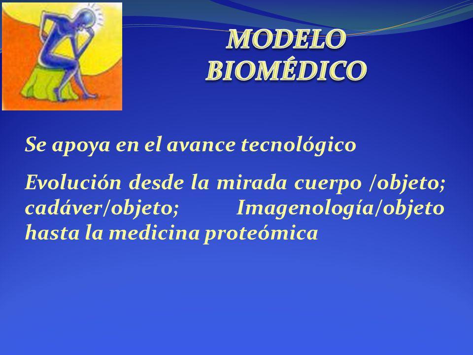 Se apoya en el avance tecnológico Evolución desde la mirada cuerpo /objeto; cadáver/objeto; Imagenología/objeto hasta la medicina proteómica
