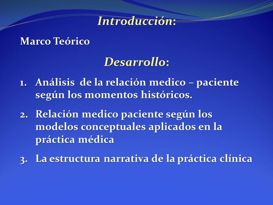 Introducción: Marco Teórico Desarrollo: 1.Análisis de la relación medico – paciente según los momentos históricos. 2.Relación medico paciente según lo