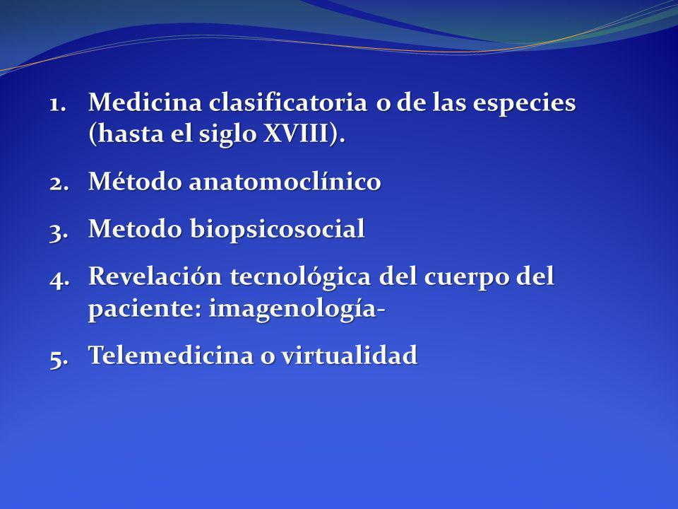 1.Medicina clasificatoria o de las especies (hasta el siglo XVIII). 2.Método anatomoclínico 3.Metodo biopsicosocial 4.Revelación tecnológica del cuerp