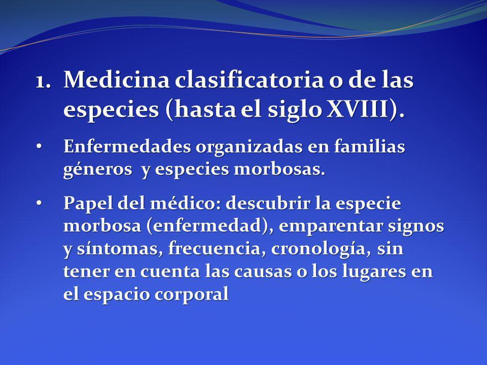 1.Medicina clasificatoria o de las especies (hasta el siglo XVIII). Enfermedades organizadas en familias géneros y especies morbosas. Enfermedades org