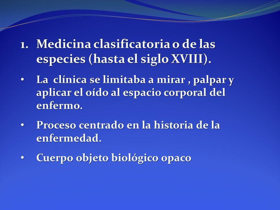 1.Medicina clasificatoria o de las especies (hasta el siglo XVIII). La clínica se limitaba a mirar, palpar y aplicar el oído al espacio corporal del e