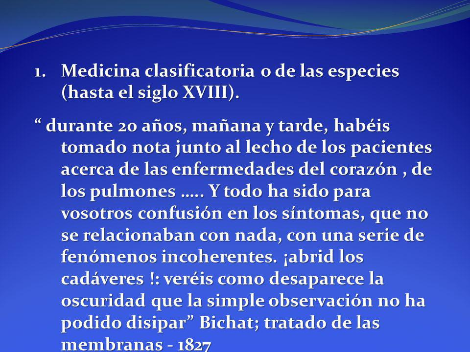 1.Medicina clasificatoria o de las especies (hasta el siglo XVIII). durante 20 años, mañana y tarde, habéis tomado nota junto al lecho de los paciente