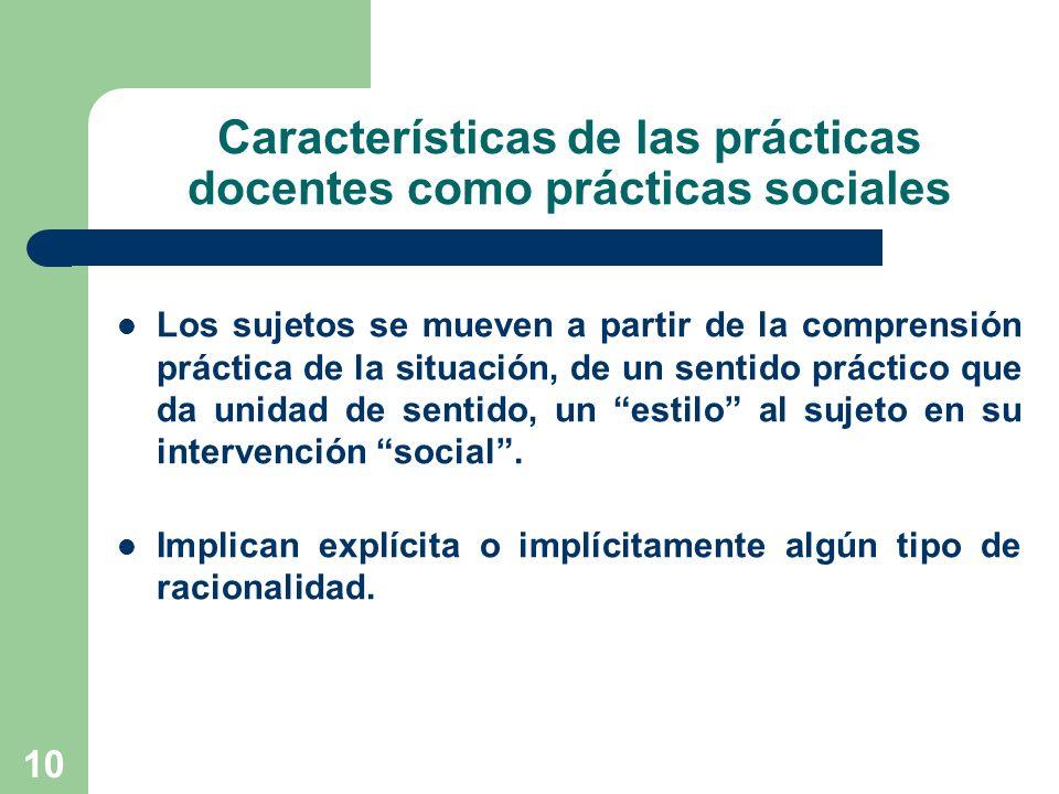 10 Características de las prácticas docentes como prácticas sociales Los sujetos se mueven a partir de la comprensión práctica de la situación, de un