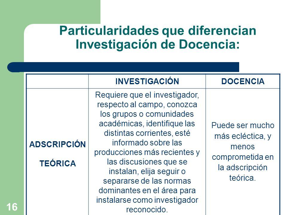 16 Particularidades que diferencian Investigación de Docencia: INVESTIGACIÓNDOCENCIA ADSCRIPCIÓN TEÓRICA Requiere que el investigador, respecto al cam
