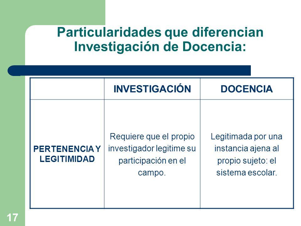 17 Particularidades que diferencian Investigación de Docencia: INVESTIGACIÓNDOCENCIA PERTENENCIA Y LEGITIMIDAD Requiere que el propio investigador leg