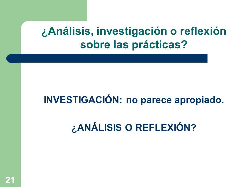21 INVESTIGACIÓN: no parece apropiado. ¿ANÁLISIS O REFLEXIÓN? ¿Análisis, investigación o reflexión sobre las prácticas?