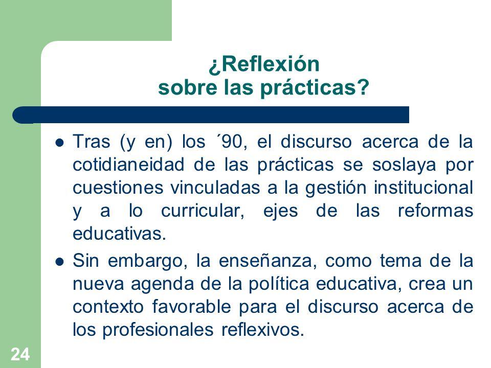 24 ¿Reflexión sobre las prácticas? Tras (y en) los ´90, el discurso acerca de la cotidianeidad de las prácticas se soslaya por cuestiones vinculadas a