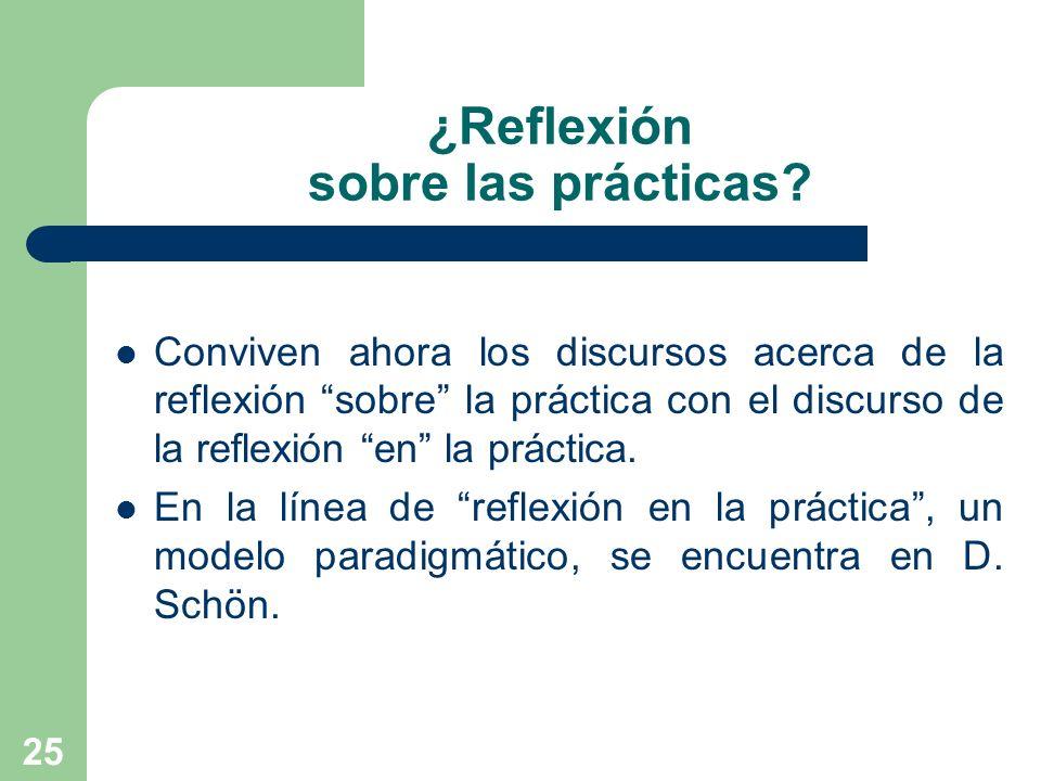 25 ¿Reflexión sobre las prácticas? Conviven ahora los discursos acerca de la reflexión sobre la práctica con el discurso de la reflexión en la práctic