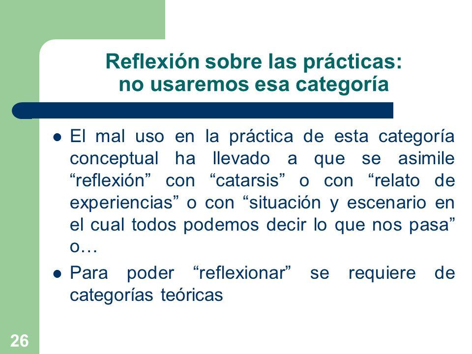 26 Reflexión sobre las prácticas: no usaremos esa categoría El mal uso en la práctica de esta categoría conceptual ha llevado a que se asimile reflexi