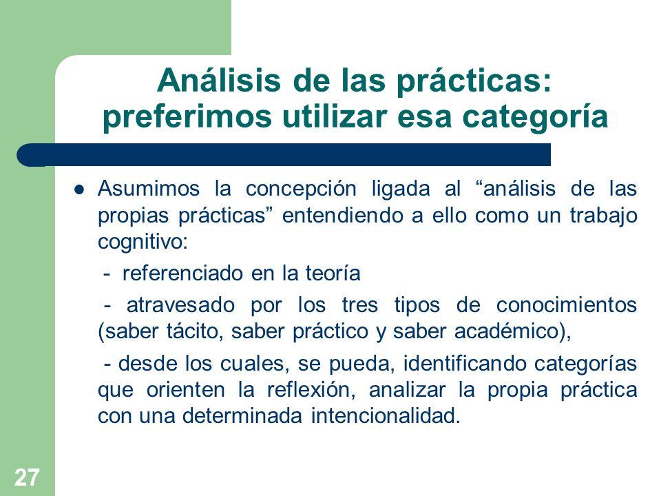 27 Análisis de las prácticas: preferimos utilizar esa categoría Asumimos la concepción ligada al análisis de las propias prácticas entendiendo a ello