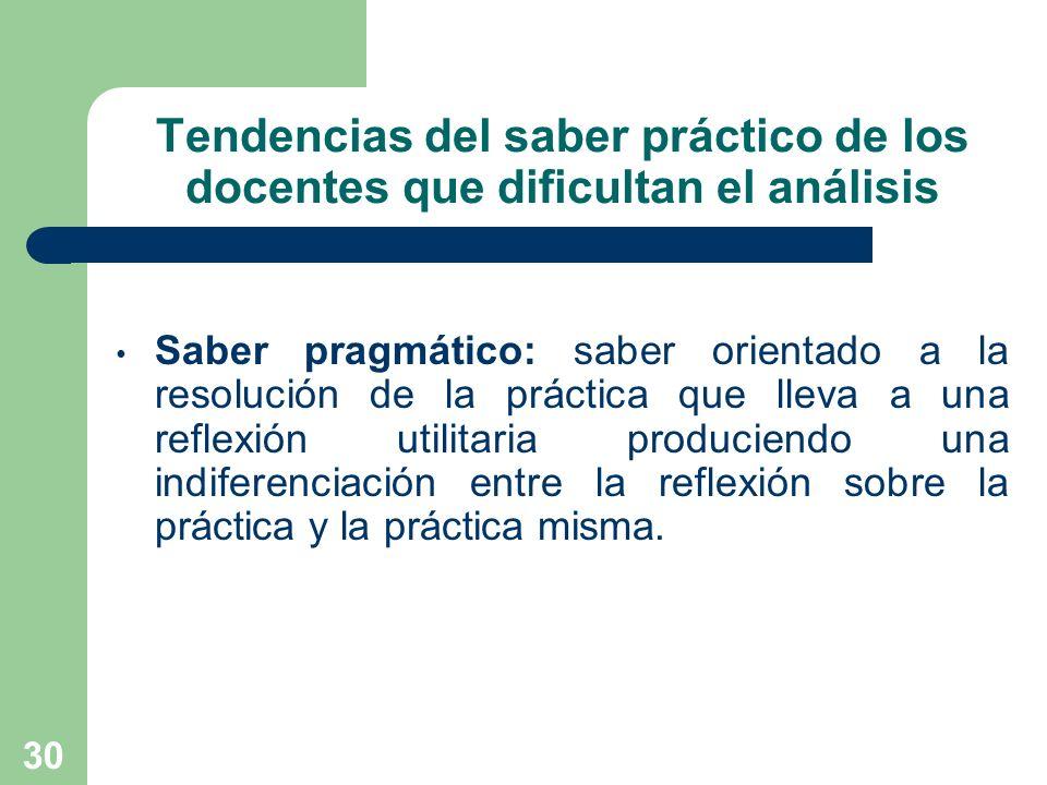 30 Tendencias del saber práctico de los docentes que dificultan el análisis Saber pragmático: saber orientado a la resolución de la práctica que lleva