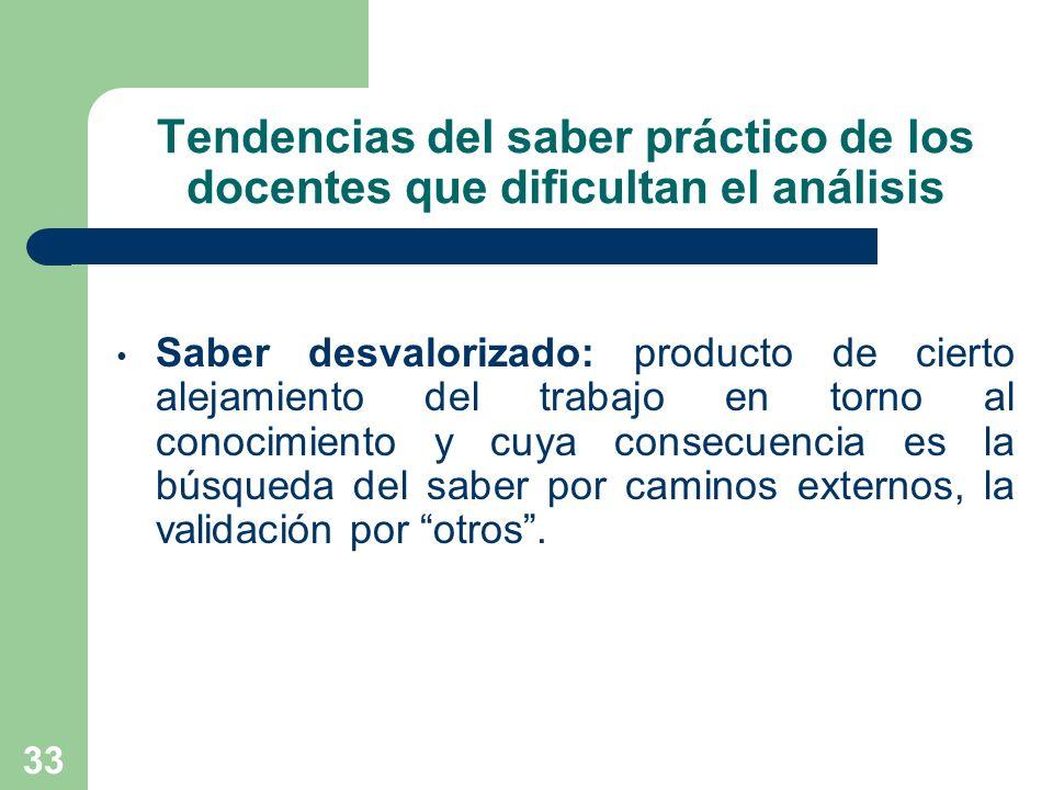 33 Tendencias del saber práctico de los docentes que dificultan el análisis Saber desvalorizado: producto de cierto alejamiento del trabajo en torno a