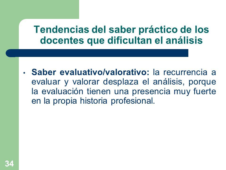 34 Tendencias del saber práctico de los docentes que dificultan el análisis Saber evaluativo/valorativo: la recurrencia a evaluar y valorar desplaza e