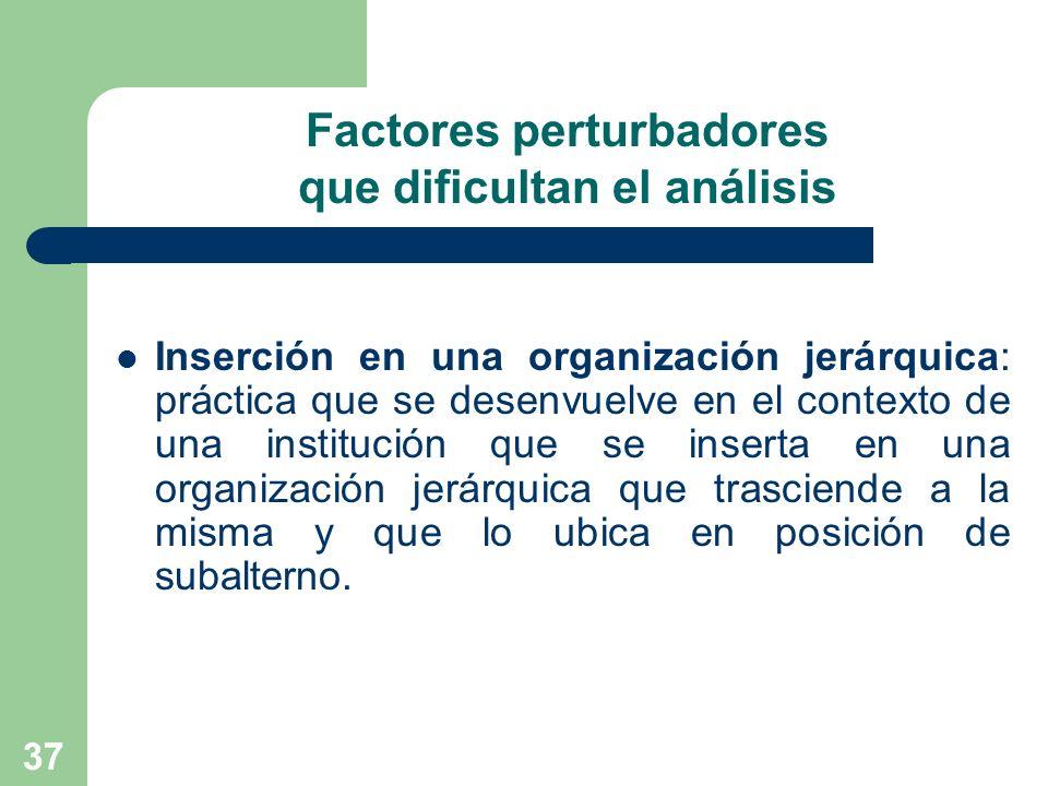 37 Factores perturbadores que dificultan el análisis Inserción en una organización jerárquica: práctica que se desenvuelve en el contexto de una insti
