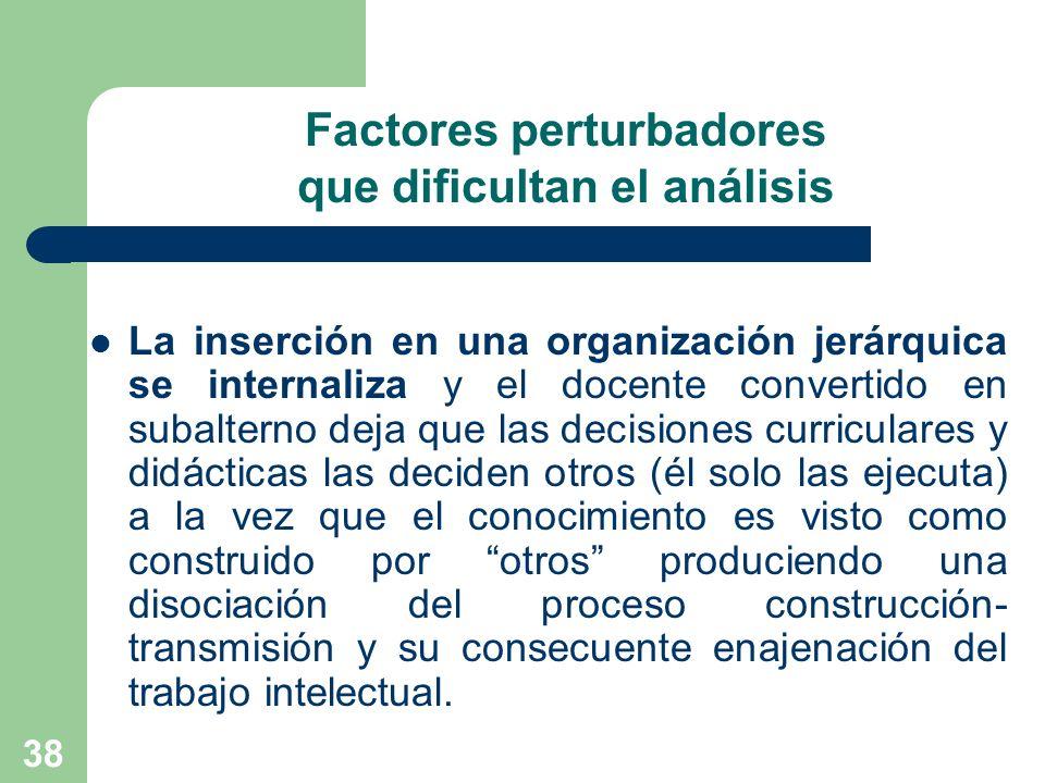 38 Factores perturbadores que dificultan el análisis La inserción en una organización jerárquica se internaliza y el docente convertido en subalterno