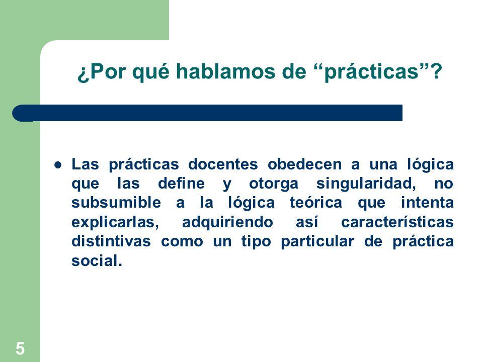 6 Entonces… La Práctica Social incluye a la Práctica Docente… y La Práctica Docente incluye a la Práctica Pedagógica… y La Práctica Pedagógica incluye a la Práctica de Enseñar