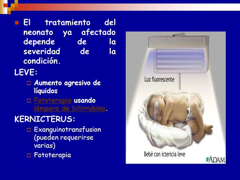 ETAPA POS NATAL----- T T O Luminoterapia : oxidación de bilirrubina a bibiverdina Exanguinotransfusión : corrige la anemia,elimina hematies sensibiliz