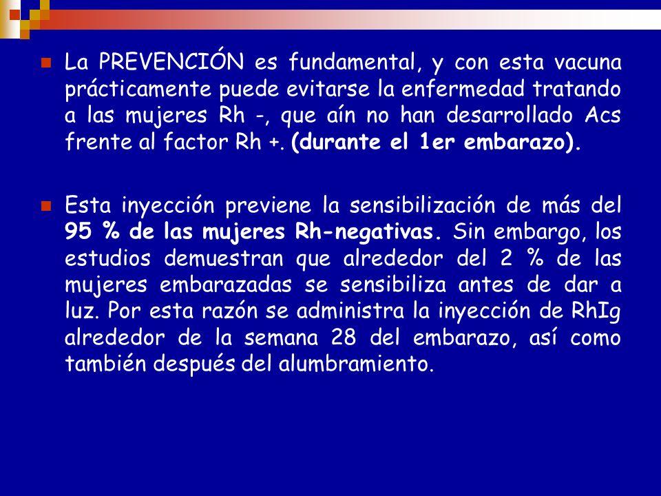 PREVENCIÓN Madre R H ( - ) no inmunizada : Dosis preventiva 28 sem Dosis dentro de las 72 hs pos parto con hijo Rh ( + )