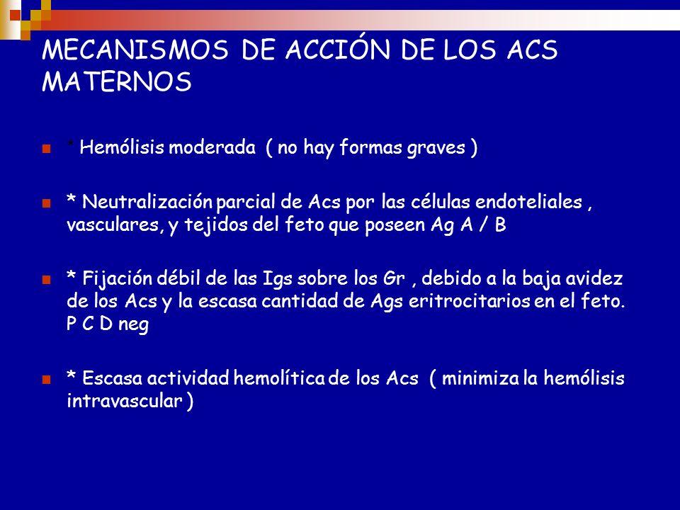 Mecanismos de Acción de los Ac maternos Hemolisis moderada (no hay generalmente formas graves de la enfermedad) Neutralización parcial de los Ac por l