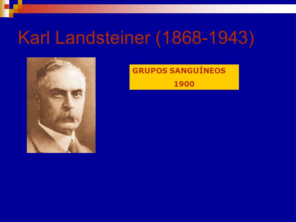 Karl Landsteiner (1868-1943) GRUPOS SANGUÍNEOS 1900